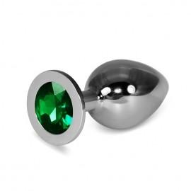 9.5cm Love Metal Anal Plug Yeşil Taşlı Anal Tıkaç