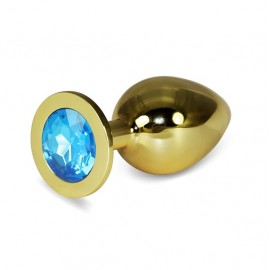 9.5cm Love Gold Metal Anal Plug Mavi Taşlı Anal Tıkaç