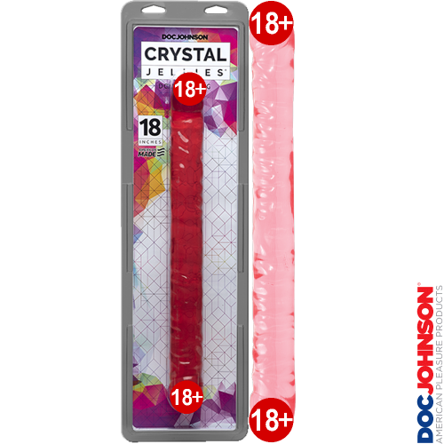 Doc Johnson Crystal Jellies Çift Taraflı Pembe Jel Penis 44 cm