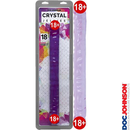 Doc Johnson Crystal Jellies Çift Taraflı Mor Jel Penis 44 cm
