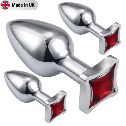Made İn U.K Favicorns Kırmızı Taşlı Anal Alıştırıcı Metal Set