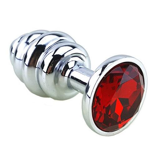 My Steel Small Silver Boğumlu Metal Anal Plug Kırmızı Taşlı