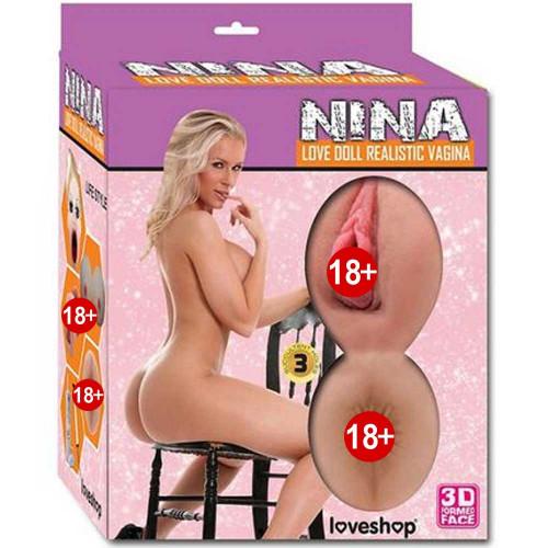 Nina Saçlı Slikon Göğüslü Realistik Vajinalı Titreşimli Şişme Manken