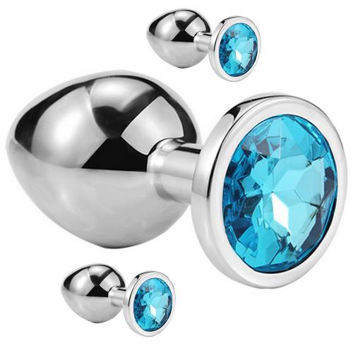 My Steel Large 3'lü Silver Mavi Kristal Taşlı Metal Anal Plug Anal Set