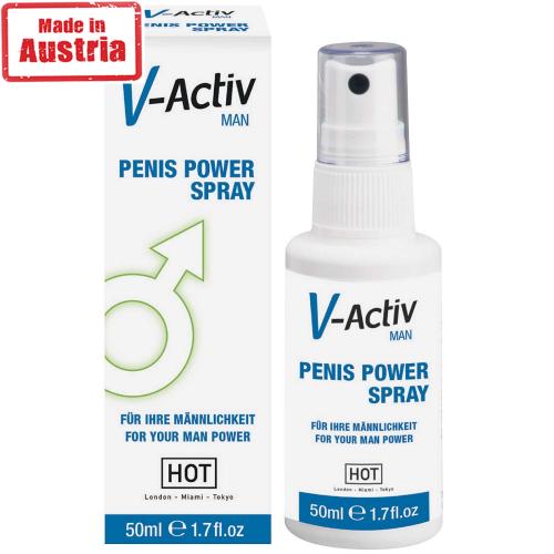 Hot V-Active Man Penis Power Spray Erkeklere Özel Penis Spreyi 50 ml.