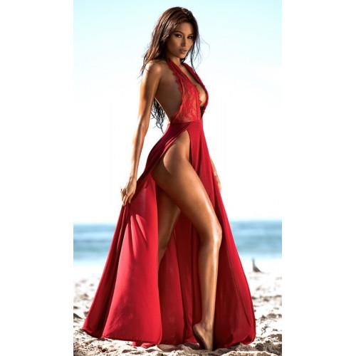 Erox Fantezi Kırmızı Şık Uzun Gecelik ve Fantezi Giyim