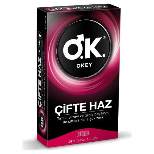 Okey Çifte Haz Tırtıklı Prezervatif 10'lu Paket