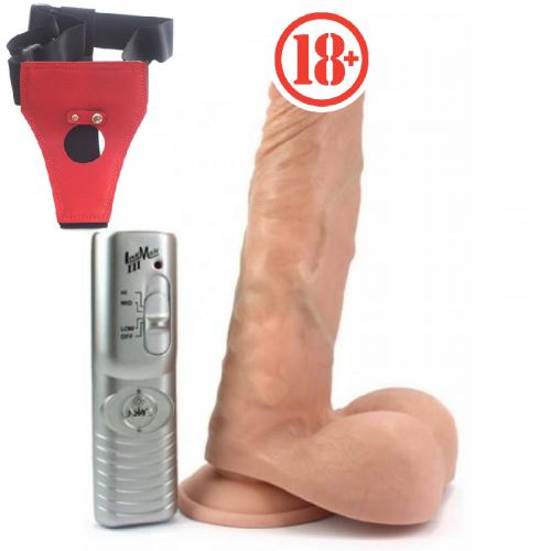 Samson's Realistik Gerçek Ten Dokusu Belden  Bağlamalı Vibratör Penis 20 cm